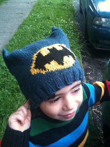 I designed this Batman-inspired hat for my superhero-loving son. He has a big  head so this I would consider a youth small. It is easy to adjust up or  down ... 492a6977207